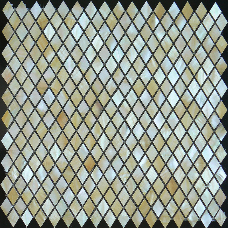 Gold Mother of Pearl Diamond Shell Mosaic Sheet 14x24mm, 1 tile